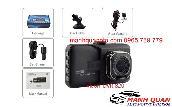 Camera Hành Trình Vicom DVR 820 Ghi Hình Trước Và Sau Xe Daewoo Lacetti EX