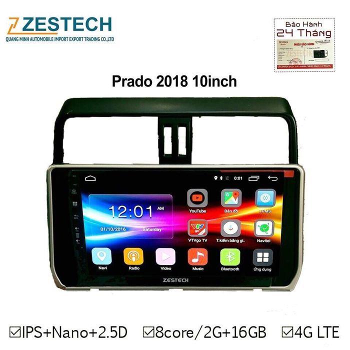 Đầu Android Công Nghệ Nhật Cắm Sim 4G - DVD Zestech Cho Toyota Prado 2018