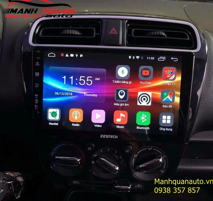 Lắp DVD Android Zestech Cắm Sim 4G Cho Mitsubishi Attrage - Mạnh Quân Auto