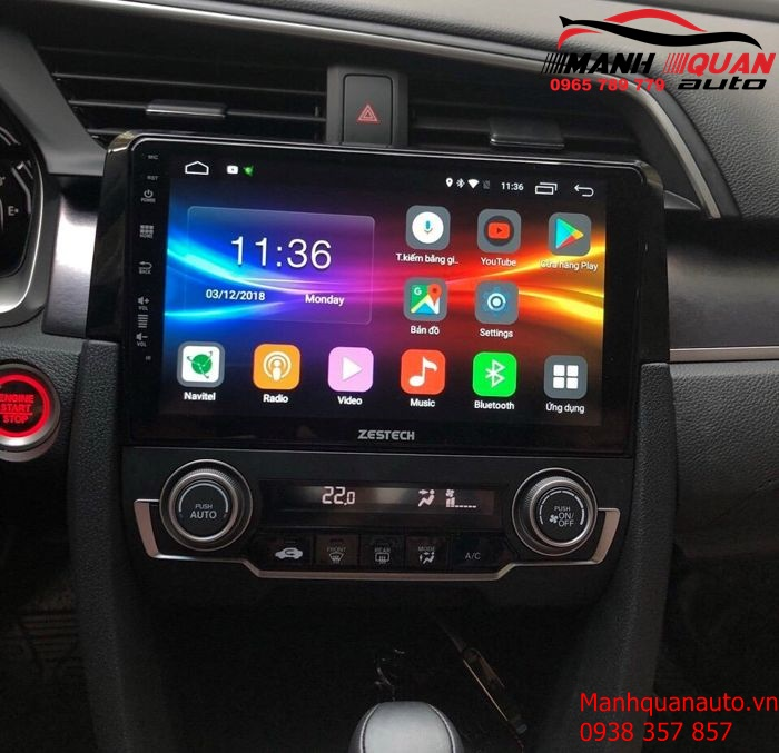 Lắp Màn Hình DVD Android Cắm Sim 4G Cho Honda Civic 2018-2019